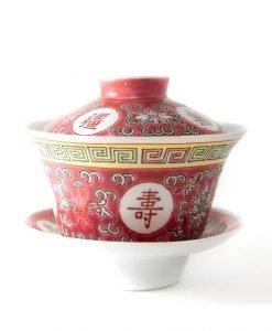 gaiwan de porcelana roja