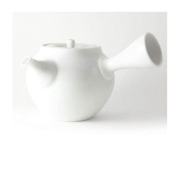kyusu de porcelana blanca