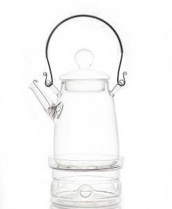 tetera de vidrio con soporte