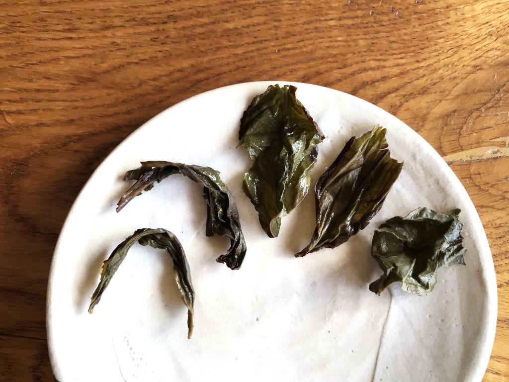 hoja abierta de este té oolong de Wuyi shan
